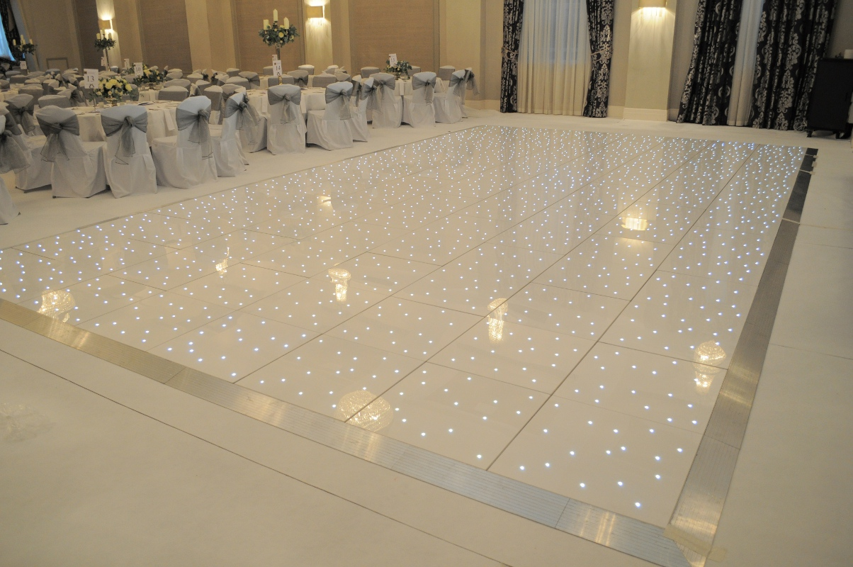 Where to hire a white led starlit dance floor for your wedding for On the floor on the floor